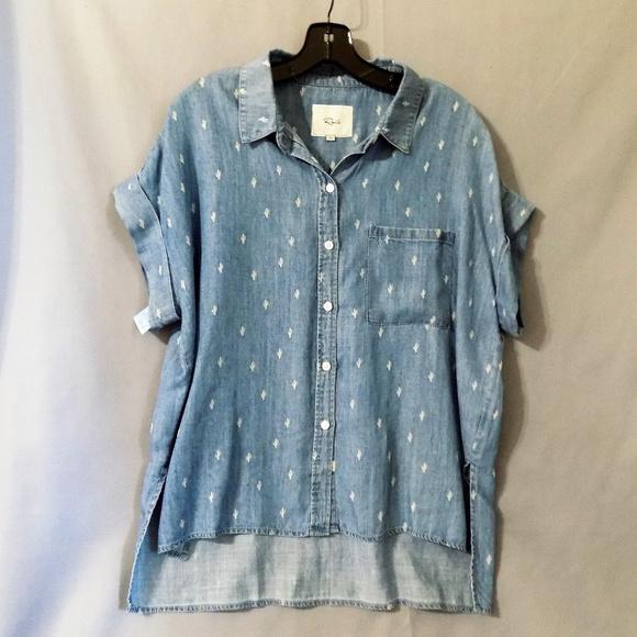 3ce0d57ecd denim shirt with cactus detail and high low cut